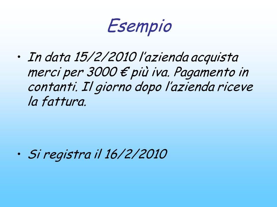 Esempio In data 15/2/2010 lazienda acquista merci per 3000 più iva. Pagamento in contanti. Il giorno dopo lazienda riceve la fattura. Si registra il 1