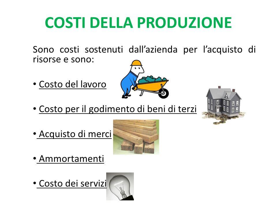 COSTI DELLA PRODUZIONE Sono costi sostenuti dallazienda per lacquisto di risorse e sono: Costo del lavoro Costo per il godimento di beni di terzi Acquisto di merci Ammortamenti Costo dei servizi