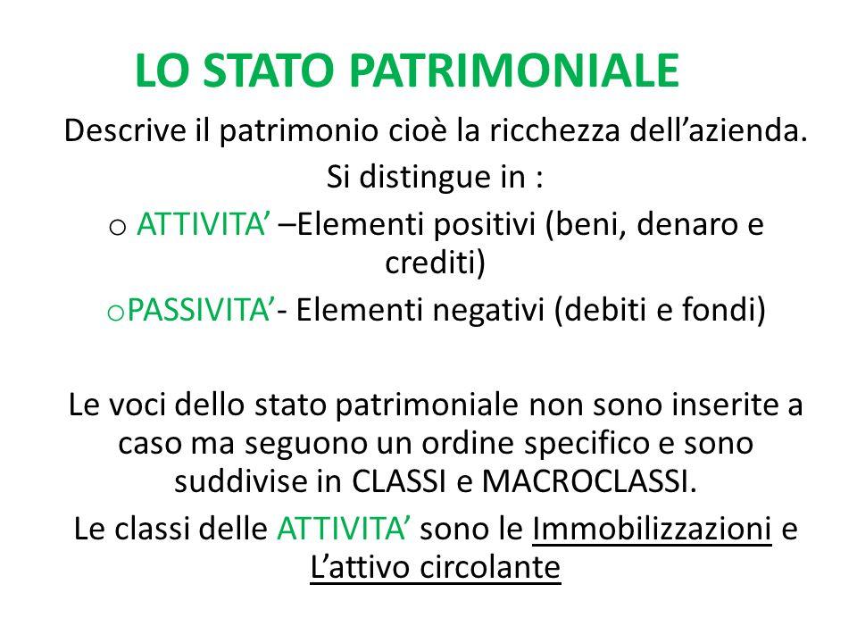 LO STATO PATRIMONIALE Descrive il patrimonio cioè la ricchezza dellazienda.