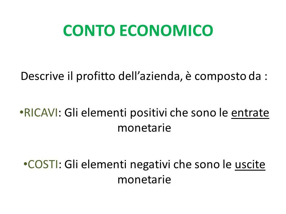 CONTO ECONOMICO Descrive il profitto dellazienda, è composto da : RICAVI: Gli elementi positivi che sono le entrate monetarie COSTI: Gli elementi negativi che sono le uscite monetarie