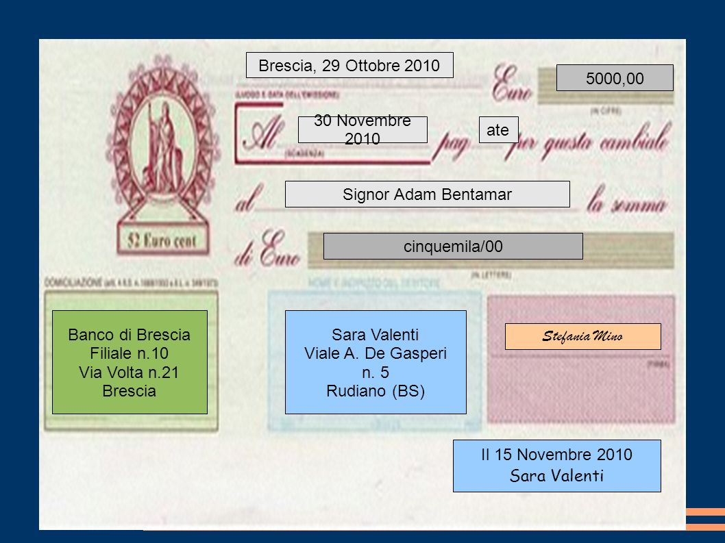 5000,00 Brescia, 29 Ottobre 2010 30 Novembre 2010 ate Signor Adam Bentamar cinquemila/00 Banco di Brescia Filiale n.10 Via Volta n.21 Brescia Sara Val