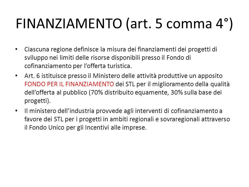 FINANZIAMENTO (art. 5 comma 4°) Ciascuna regione definisce la misura dei finanziamenti dei progetti di sviluppo nei limiti delle risorse disponibili p