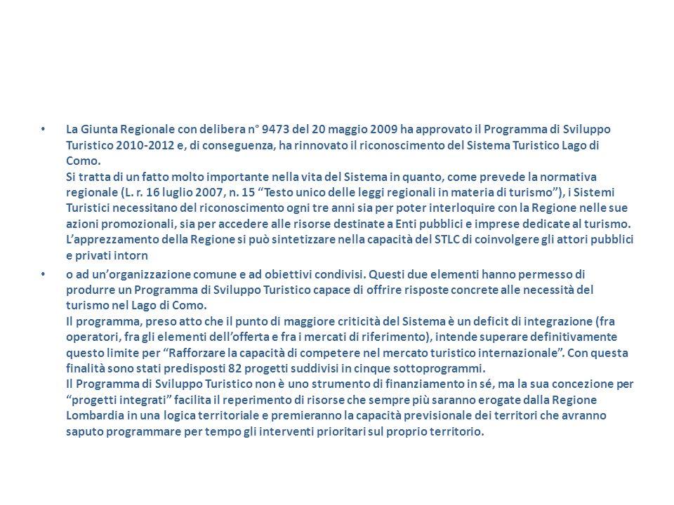 La Giunta Regionale con delibera n° 9473 del 20 maggio 2009 ha approvato il Programma di Sviluppo Turistico 2010-2012 e, di conseguenza, ha rinnovato