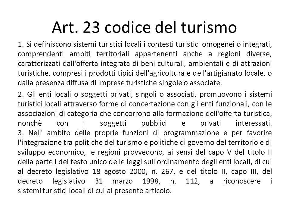 Art. 23 codice del turismo 1. Si definiscono sistemi turistici locali i contesti turistici omogenei o integrati, comprendenti ambiti territoriali appa
