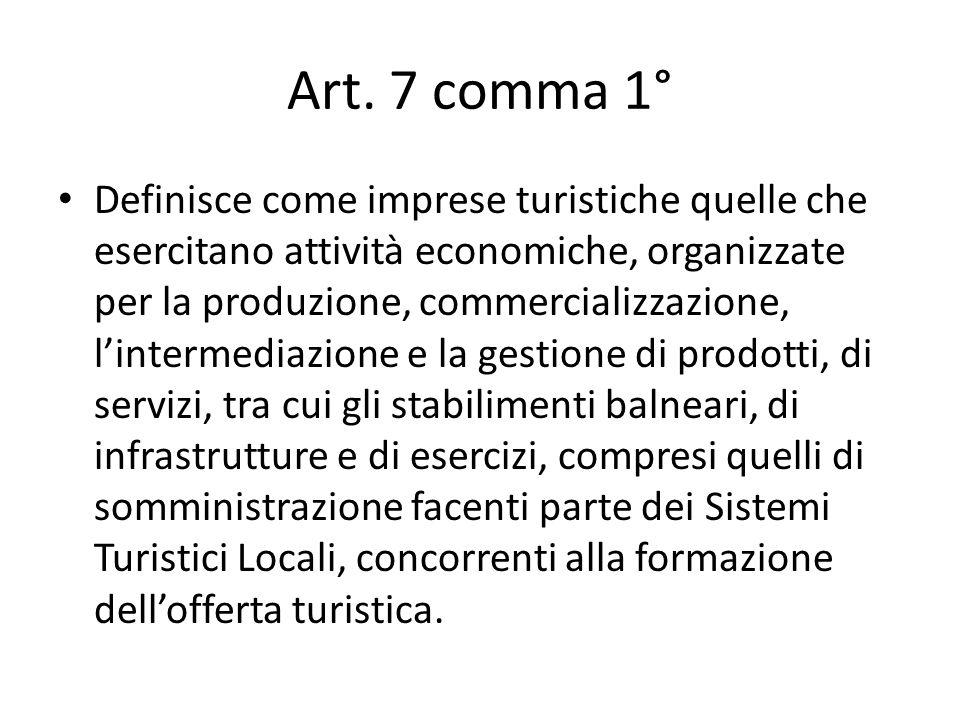 Art. 7 comma 1° Definisce come imprese turistiche quelle che esercitano attività economiche, organizzate per la produzione, commercializzazione, linte