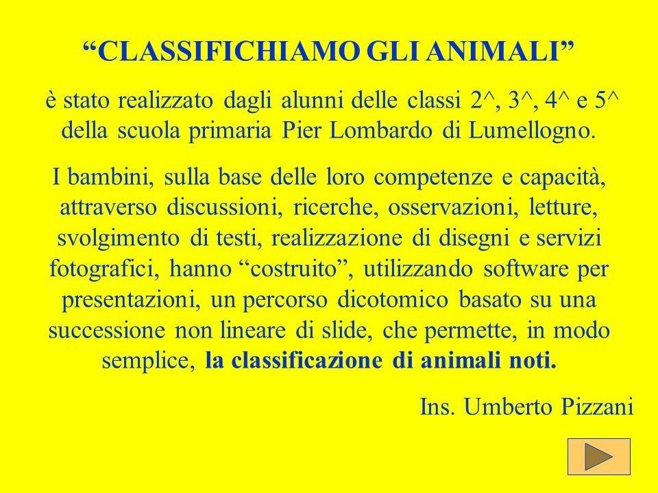 CLASSIFICHIAMO GLI ANIMALI è stato realizzato dagli alunni delle classi 2^, 3^, 4^ e 5^ della scuola primaria Pier Lombardo di Lumellogno. I bambini,