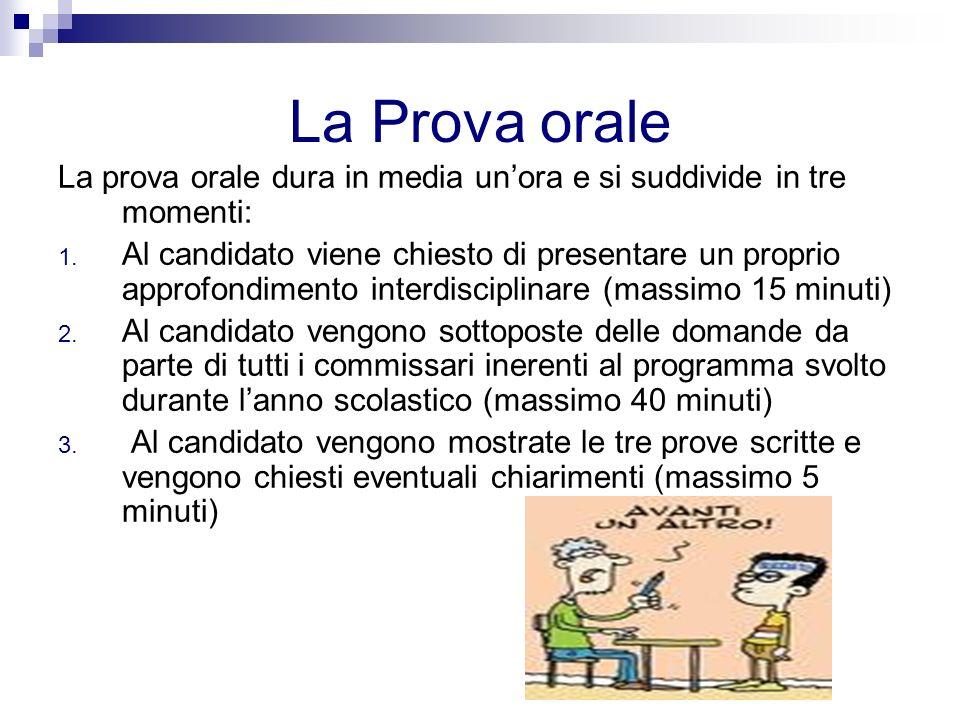 La Prova orale La prova orale dura in media unora e si suddivide in tre momenti: 1.