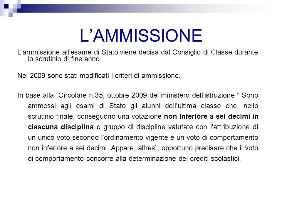 LAMMISSIONE Lammissione allesame di Stato viene decisa dal Consiglio di Classe durante lo scrutinio di fine anno.