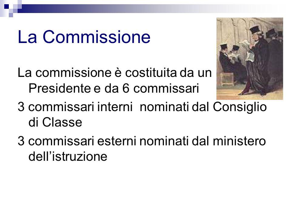 La Commissione La commissione è costituita da un Presidente e da 6 commissari 3 commissari interni nominati dal Consiglio di Classe 3 commissari esterni nominati dal ministero dellistruzione