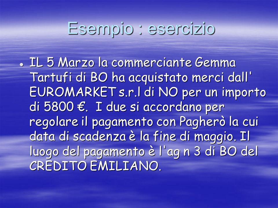 Esempio : esercizio Esempio : esercizio IL 5 Marzo la commerciante Gemma Tartufi di BO ha acquistato merci dall' EUROMARKET s.r.l di NO per un importo