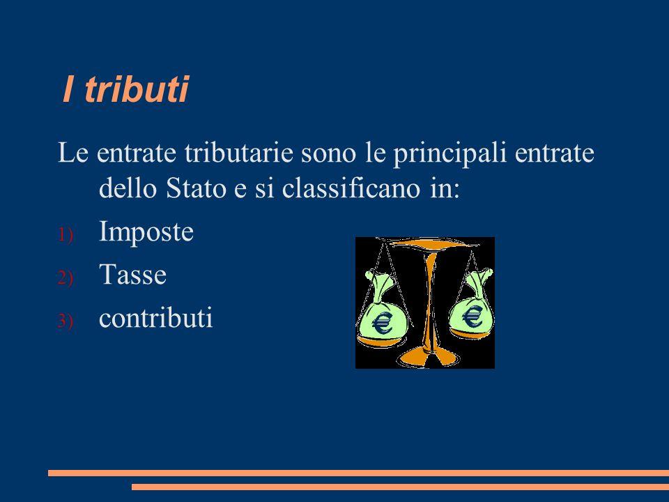 I tributi Le entrate tributarie sono le principali entrate dello Stato e si classificano in: 1) Imposte 2) Tasse 3) contributi