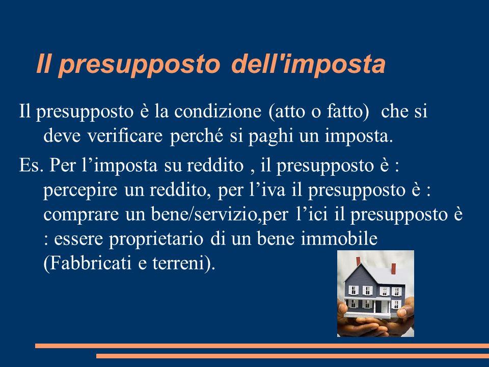 Il presupposto dell'imposta Il presupposto è la condizione (atto o fatto) che si deve verificare perché si paghi un imposta. Es. Per limposta su reddi