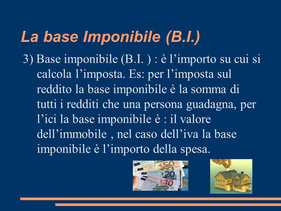 La base Imponibile (B.I.) 3) Base imponibile (B.I. ) : è limporto su cui si calcola limposta. Es: per limposta sul reddito la base imponibile è la som