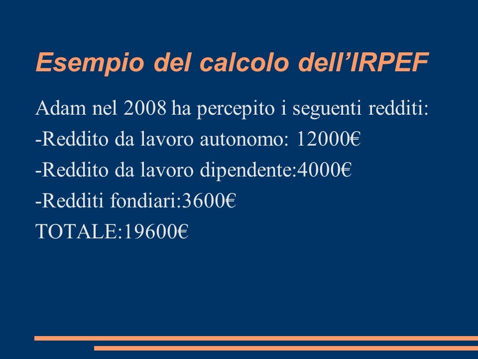 Esempio del calcolo dellIRPEF Adam nel 2008 ha percepito i seguenti redditi: -Reddito da lavoro autonomo: 12000 -Reddito da lavoro dipendente:4000 -Re