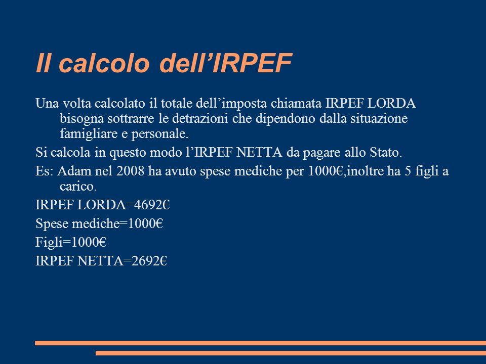 Il calcolo dellIRPEF Una volta calcolato il totale dellimposta chiamata IRPEF LORDA bisogna sottrarre le detrazioni che dipendono dalla situazione fam