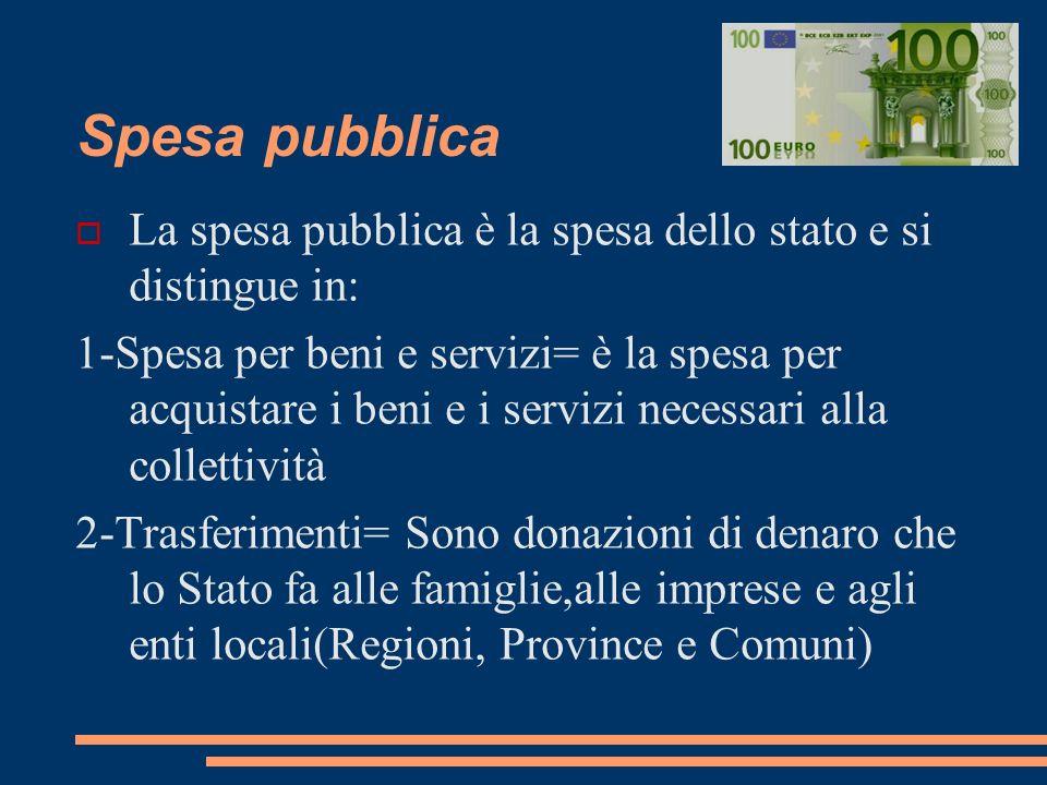 Spesa pubblica La spesa pubblica è la spesa dello stato e si distingue in: 1-Spesa per beni e servizi= è la spesa per acquistare i beni e i servizi ne