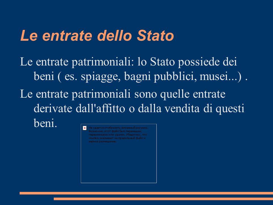 Le entrate dello Stato Le entrate patrimoniali: lo Stato possiede dei beni ( es. spiagge, bagni pubblici, musei...). Le entrate patrimoniali sono quel