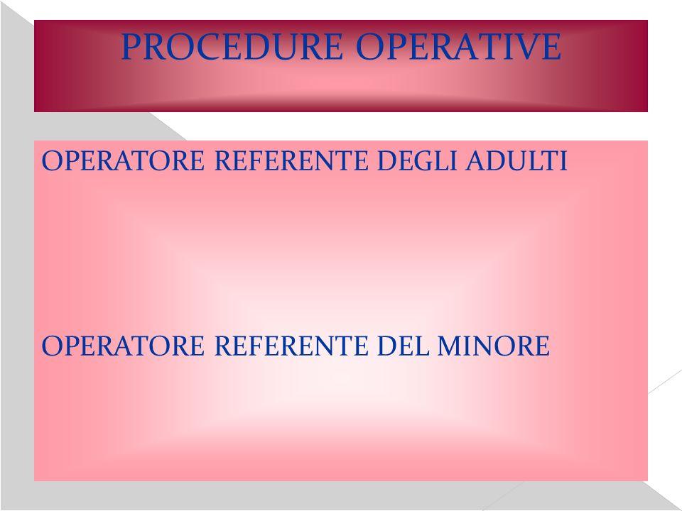 PROCEDURE OPERATIVE OPERATORE REFERENTE DEGLI ADULTI OPERATORE REFERENTE DEL MINORE