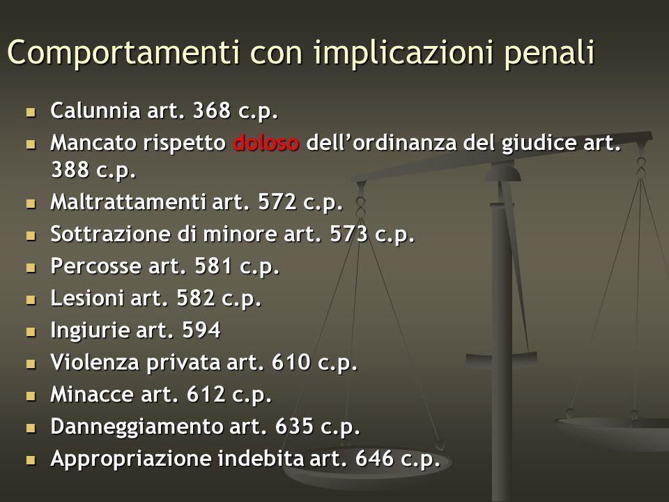 Comportamenti con implicazioni penali Calunnia art. 368 c.p. Calunnia art. 368 c.p. Mancato rispetto doloso dellordinanza del giudice art. 388 c.p. Ma