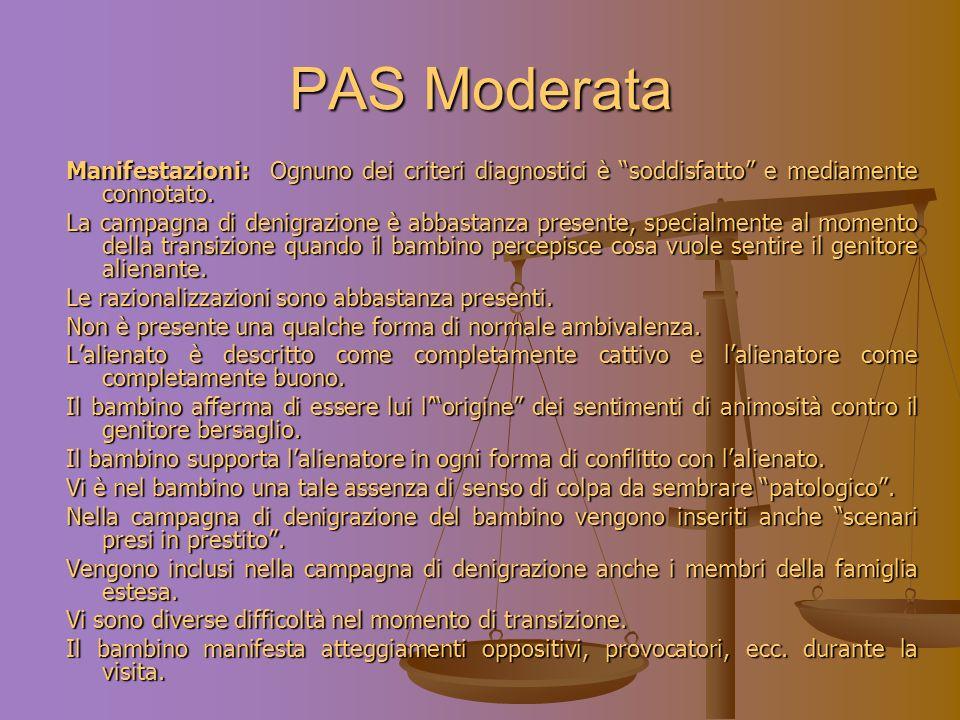 PAS Moderata Manifestazioni: Ognuno dei criteri diagnostici è soddisfatto e mediamente connotato.