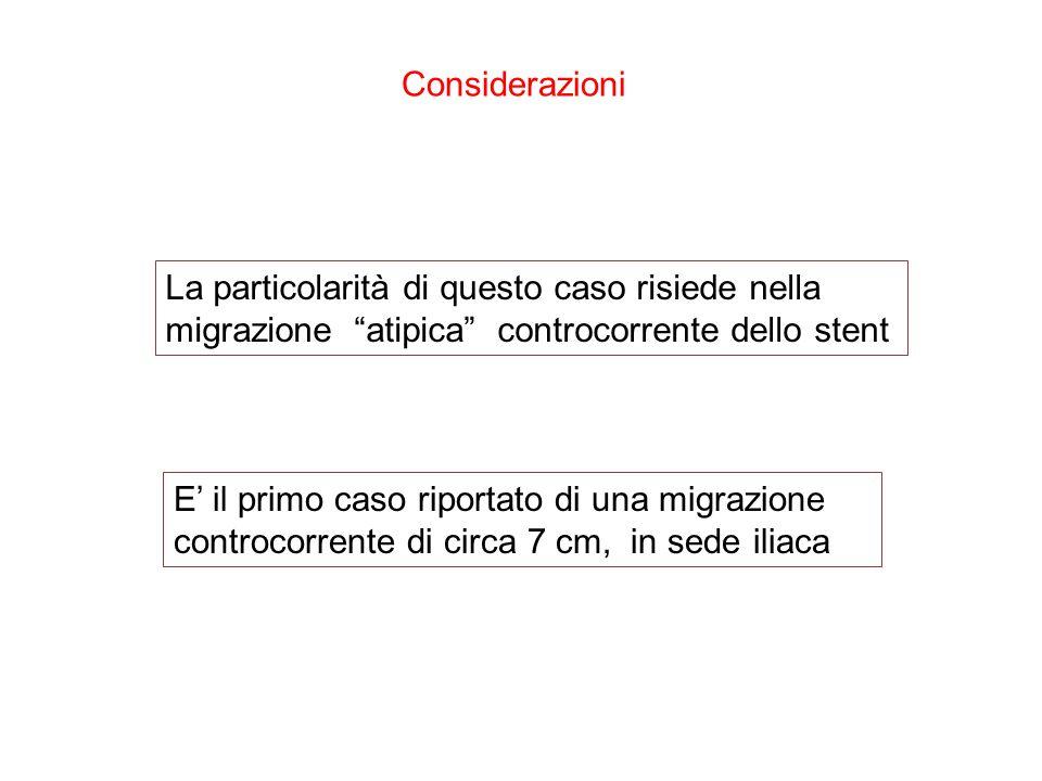 Considerazioni La particolarità di questo caso risiede nella migrazione atipica controcorrente dello stent E il primo caso riportato di una migrazione