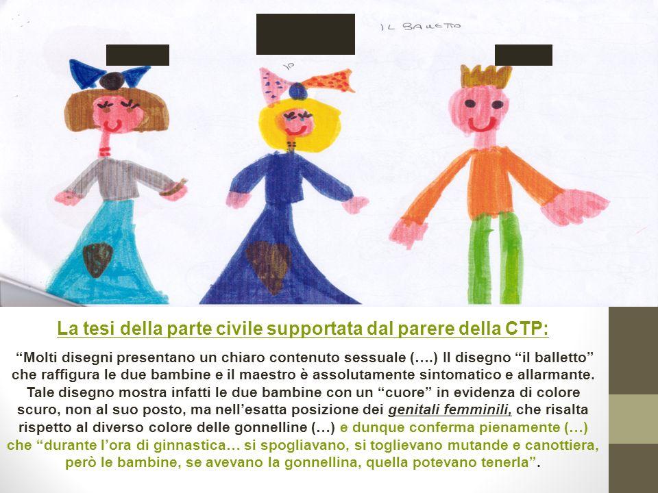 La tesi della parte civile supportata dal parere della CTP: Molti disegni presentano un chiaro contenuto sessuale (….) Il disegno il balletto che raff
