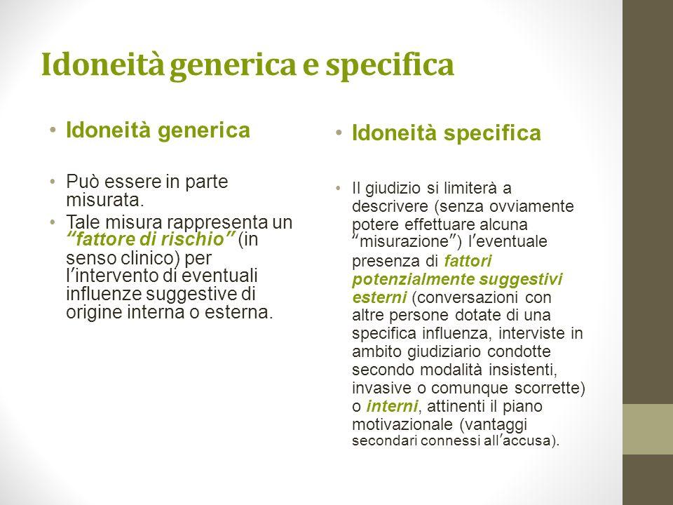 Idoneità generica e specifica Idoneità generica Può essere in parte misurata. Tale misura rappresenta unfattore di rischio (in senso clinico) per lint