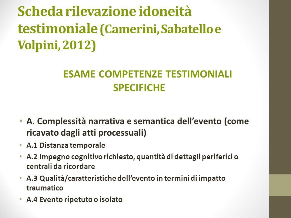 Scheda rilevazione idoneità testimoniale (Camerini, Sabatello e Volpini, 2012) ESAME COMPETENZE TESTIMONIALI SPECIFICHE A. Complessità narrativa e sem