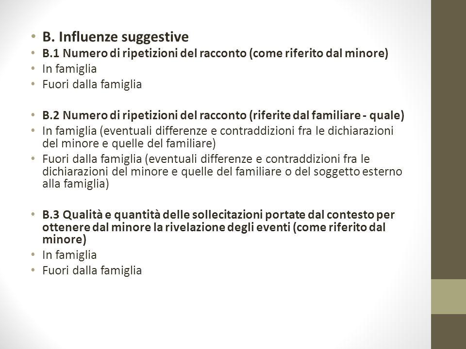 B. Influenze suggestive B.1 Numero di ripetizioni del racconto (come riferito dal minore) In famiglia Fuori dalla famiglia B.2 Numero di ripetizioni d