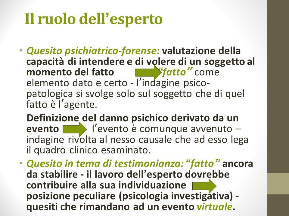 Il ruolo dell esperto Quesito psichiatrico-forense: valutazione della capacità di intendere e di volere di un soggetto al momento del fatto fatto come