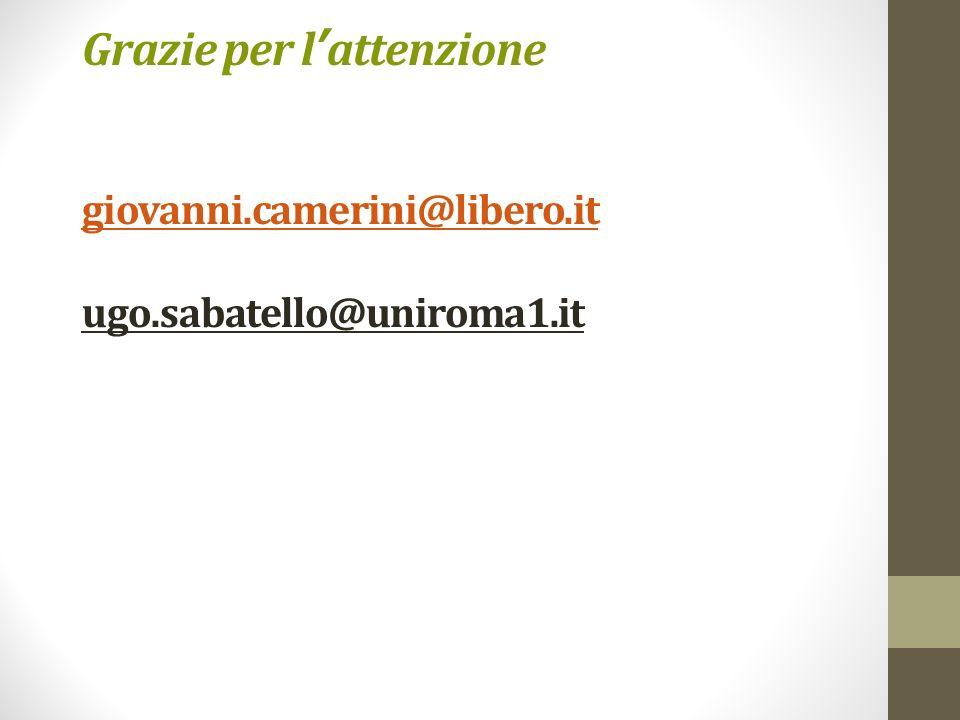 Grazie per l attenzione giovanni.camerini@libero.it ugo.sabatello@uniroma1.it giovanni.camerini@libero.it
