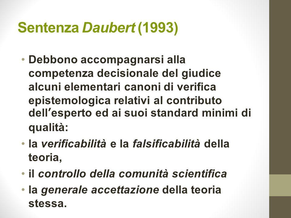 Sentenza Daubert (1993) Debbono accompagnarsi alla competenza decisionale del giudice alcuni elementari canoni di verifica epistemologica relativi al