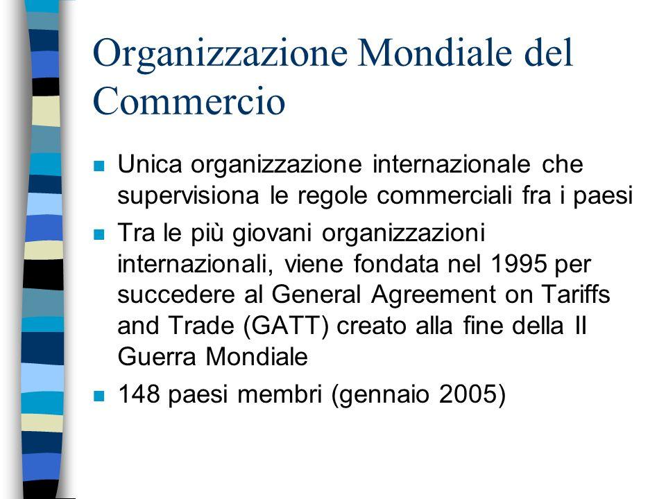 WTO: lorganizzazione n La WTO è gestita dai governi i quali sono anche tenuti ad attuare le regole con le procedure che essi stessi hanno negoziato n Ufficialmente le decisioni vengono adottate allunanimità