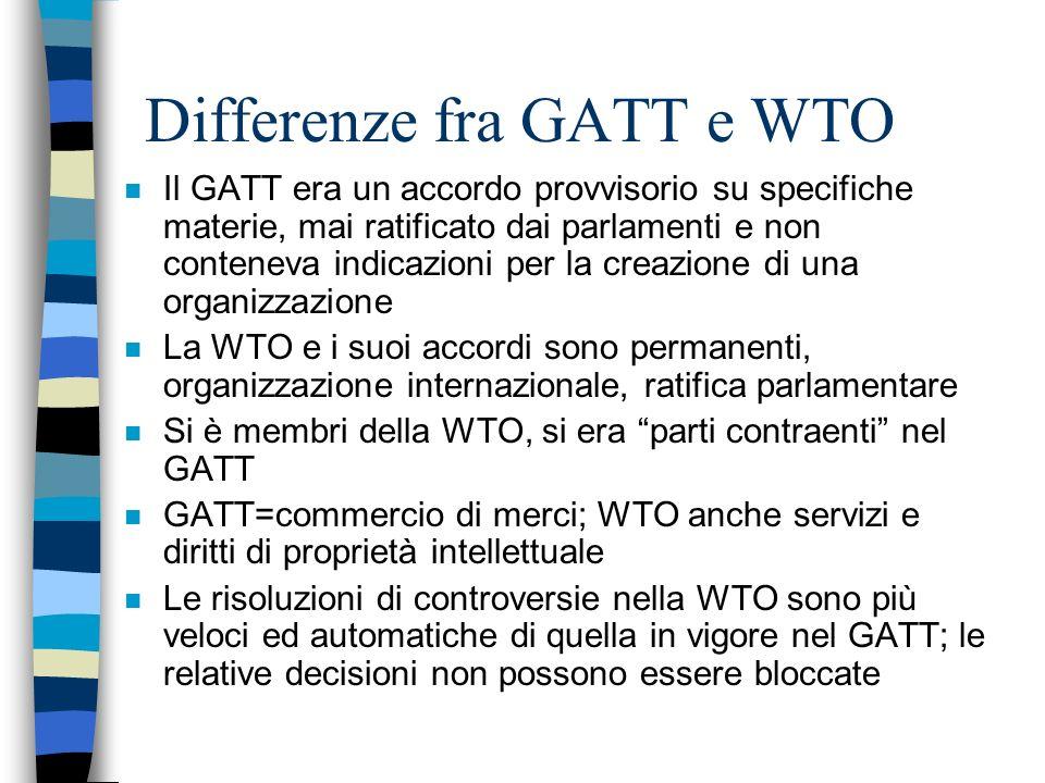 Accordi WTO n Coprono merci, servizi e proprietà intellettuale n Stabiliscono i principi della liberalizzazione e le relative eccezioni n Comprendono i singoli impegni dei paesi partecipanti ad abbassare le tariffe doganali e le altre barriere commerciali e ad aprire i mercati dei servizi n Fissano procedure per la risoluzione delle controversie n Prevedono trattamenti speciali per i PVS n Prescrivono regole di trasparenza nella politica commerciale (notifiche e reviews)