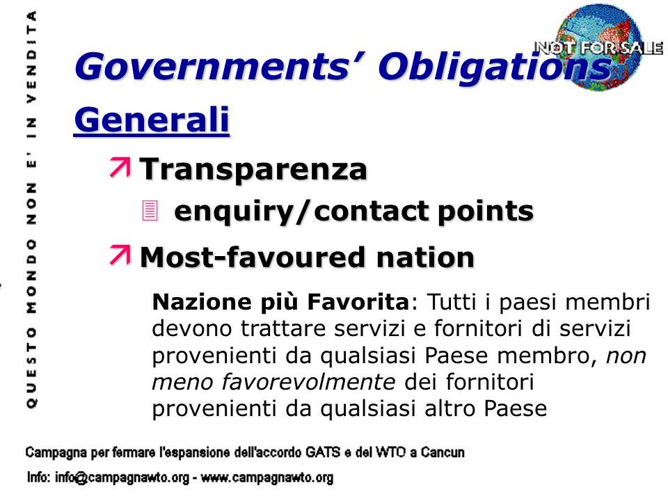 Generali ä Transparenza 3enquiry/contact points ä Most-favoured nation Governments Obligations Nazione più Favorita: Tutti i paesi membri devono tratt