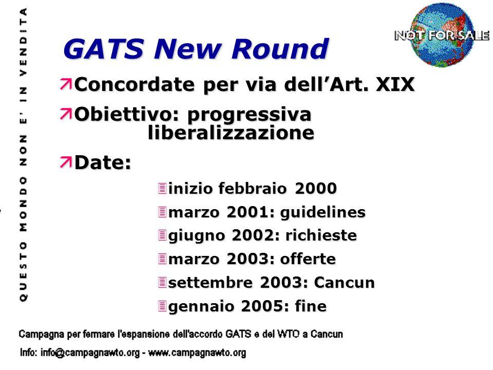 GATS New Round äConcordate per via dellArt. XIX äObiettivo: progressiva liberalizzazione äDate: 3inizio febbraio 2000 3marzo 2001: guidelines 3giugno