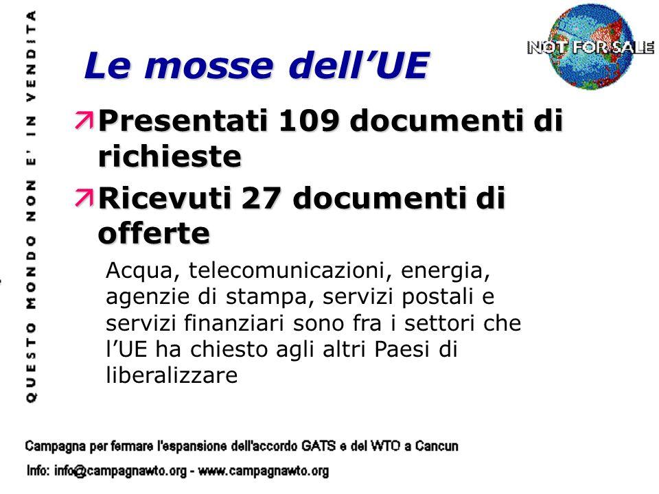 Le mosse dellUE äPresentati 109 documenti di richieste äRicevuti 27 documenti di offerte Acqua, telecomunicazioni, energia, agenzie di stampa, servizi