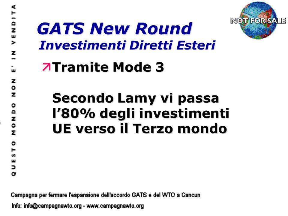 GATS New Round Investimenti Diretti Esteri äTramite Mode 3 Secondo Lamy vi passa l80% degli investimenti UE verso il Terzo mondo
