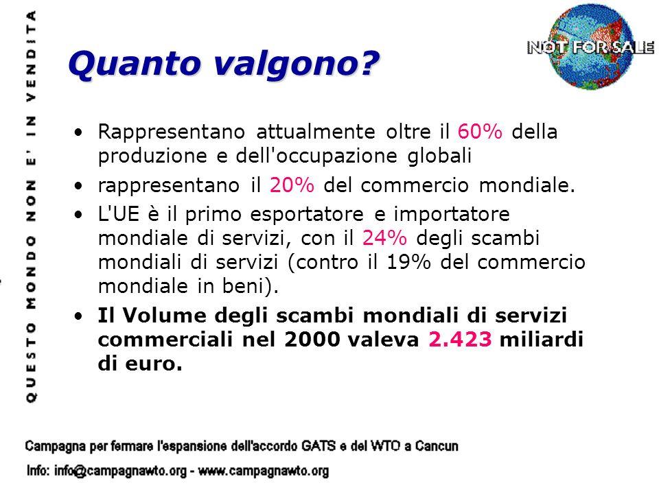 Rappresentano attualmente oltre il 60% della produzione e dell'occupazione globali rappresentano il 20% del commercio mondiale. L'UE è il primo esport