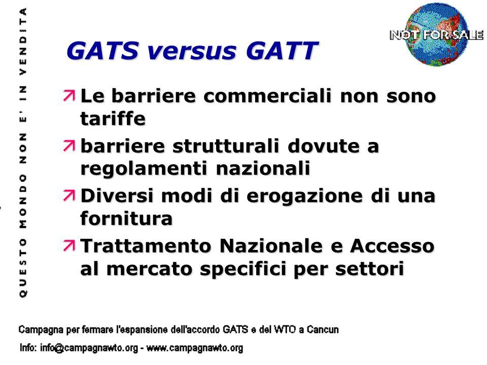 äLe barriere commerciali non sono tariffe äbarriere strutturali dovute a regolamenti nazionali äDiversi modi di erogazione di una fornitura äTrattamento Nazionale e Accesso al mercato specifici per settori GATS versus GATT