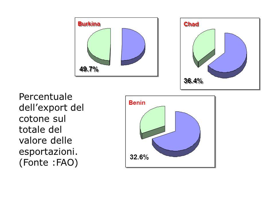 Burkina 49.7% 36.4% Chad 32.6% Benin Percentuale dellexport del cotone sul totale del valore delle esportazioni. (Fonte :FAO)