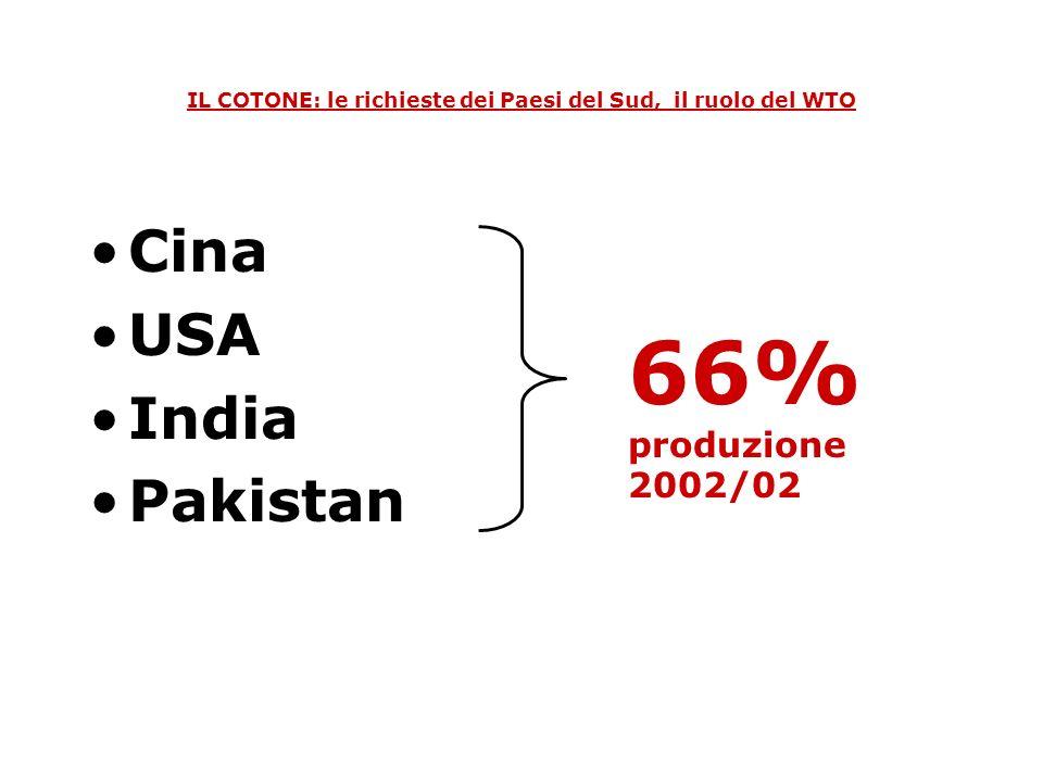 IL COTONE: le richieste dei Paesi del Sud, il ruolo del WTO Paesi industrializzati * PVS 19% 23% 61% 68% PRODUZIONE: 1980/81 2002/03 * USA,Australia, Spagna e Grecia
