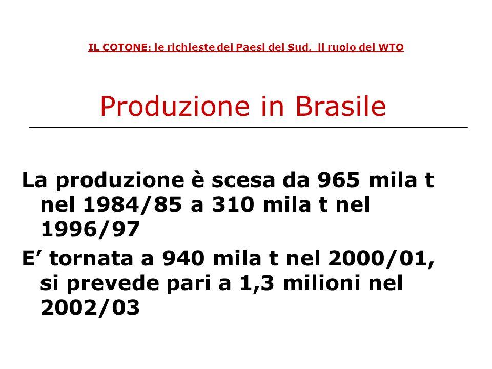 IL COTONE: le richieste dei Paesi del Sud, il ruolo del WTO Forma di sussidioImporto erogato USA 2002/03 milioni$ Marketing Loan Program989,0 Counter-cyclical Payments869,5 Direct Payment Income Support421,4 Subsidied crop Insurance194,1 Step 2415,0 Export credit garantees349,0 Totale3.238 Disputa WTO USA-Brasile: laccusa