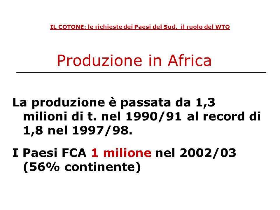 IL COTONE: le richieste dei Paesi del Sud, il ruolo del WTO La produzione è passata da 1,3 milioni di t. nel 1990/91 al record di 1,8 nel 1997/98. I P
