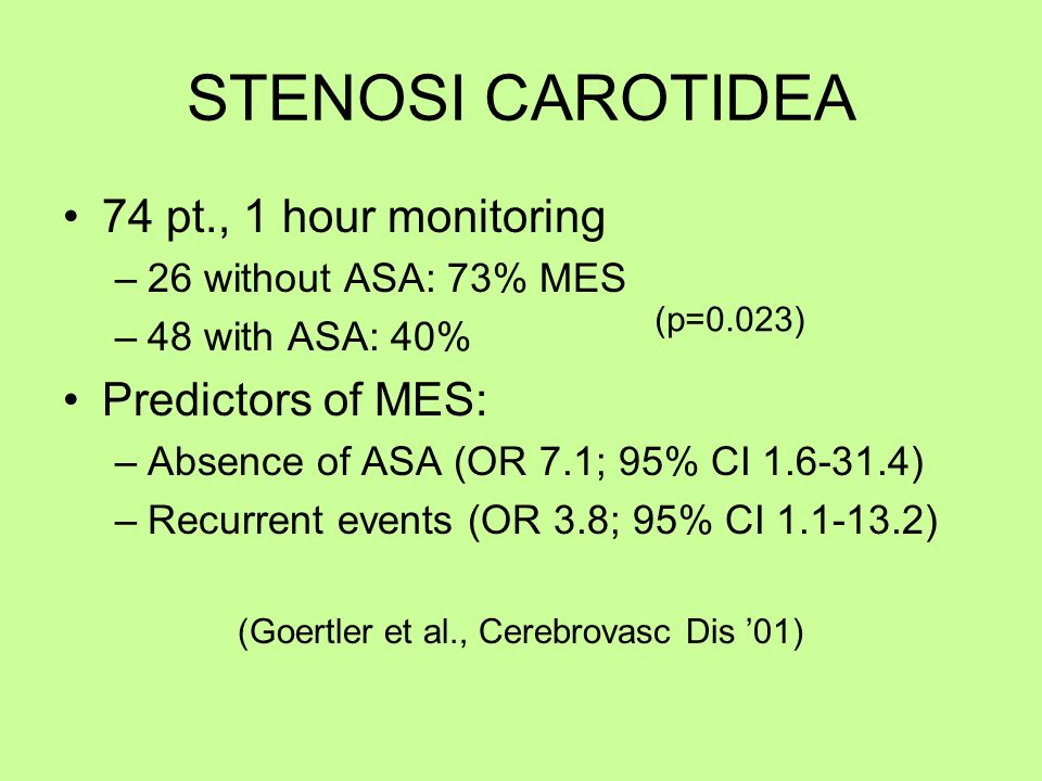 STENOSI CAROTIDEA 74 pt., 1 hour monitoring –26 without ASA: 73% MES –48 with ASA: 40% Predictors of MES: –Absence of ASA (OR 7.1; 95% CI 1.6-31.4) –R