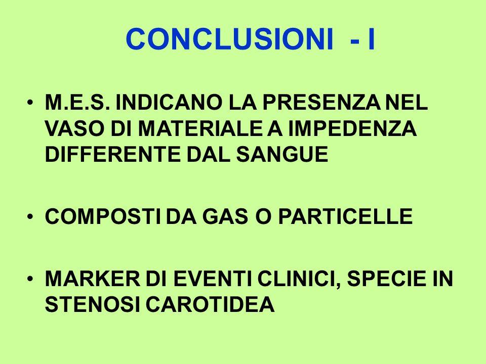 CONCLUSIONI - I M.E.S. INDICANO LA PRESENZA NEL VASO DI MATERIALE A IMPEDENZA DIFFERENTE DAL SANGUE COMPOSTI DA GAS O PARTICELLE MARKER DI EVENTI CLIN