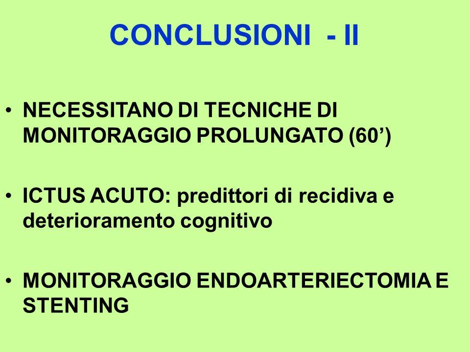 CONCLUSIONI - II NECESSITANO DI TECNICHE DI MONITORAGGIO PROLUNGATO (60) ICTUS ACUTO: predittori di recidiva e deterioramento cognitivo MONITORAGGIO E