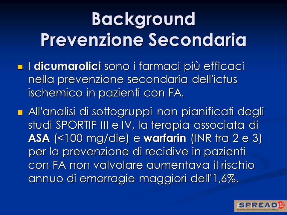 I dicumarolici sono i farmaci più efficaci nella prevenzione secondaria dell'ictus ischemico in pazienti con FA. I dicumarolici sono i farmaci più eff