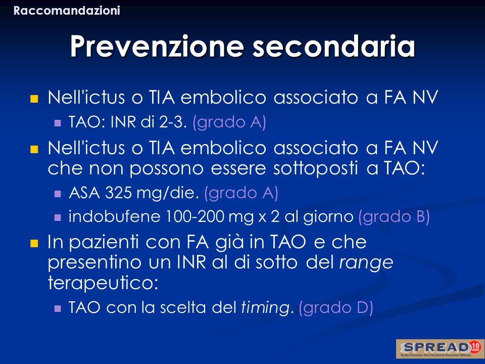 Prevenzione secondaria Nell'ictus o TIA embolico associato a FA NV TAO: INR di 2-3. (grado A) Nell'ictus o TIA embolico associato a FA NV che non poss