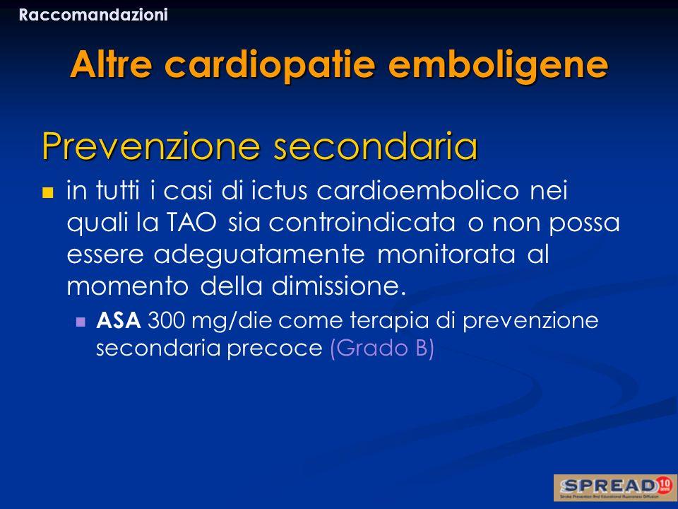Altre cardiopatie emboligene Prevenzione secondaria in tutti i casi di ictus cardioembolico nei quali la TAO sia controindicata o non possa essere ade